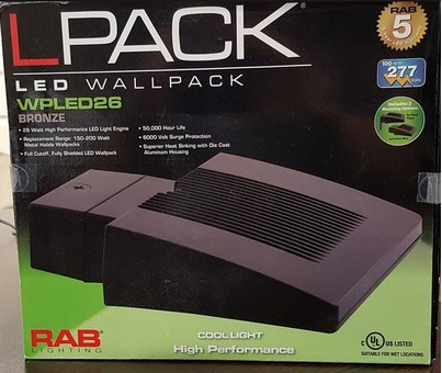 New In Box (6) RAB Lighting WPLED26 Cool LED Wallpacks - Bronze