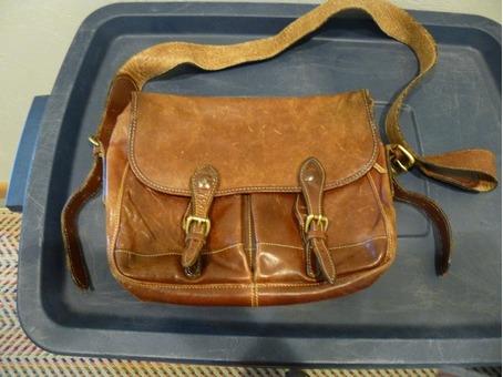 Eddie Bauer vintage leather messenger bag
